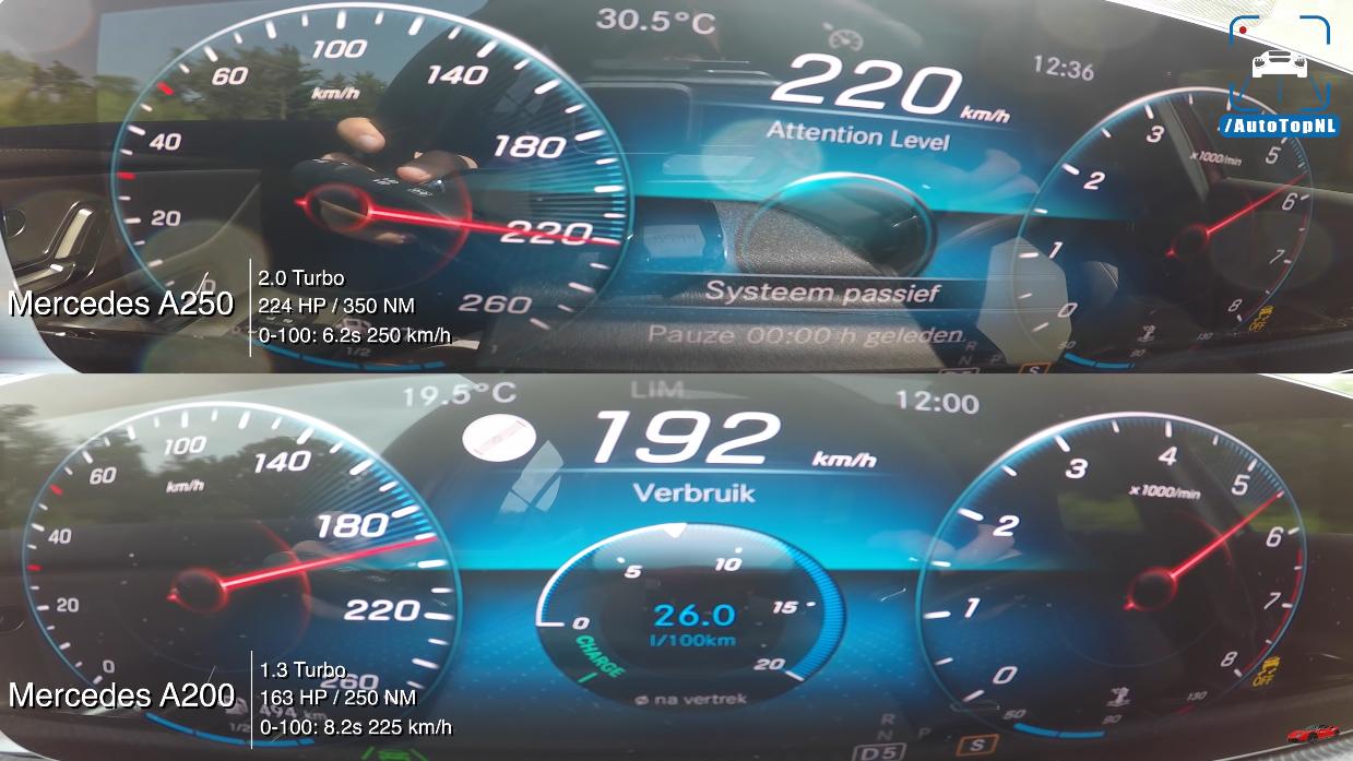 Mercedes A 200 vs A 250 confronto video