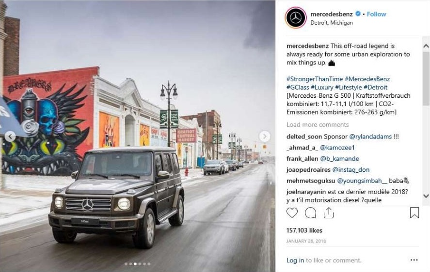 Mercedes Classe G 2019 post Instagram