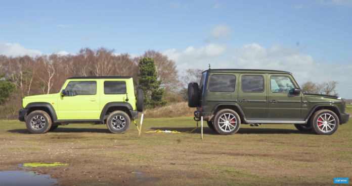 Mercedes G 63 AMG vs Suzuki Jimny tiro alla fune video