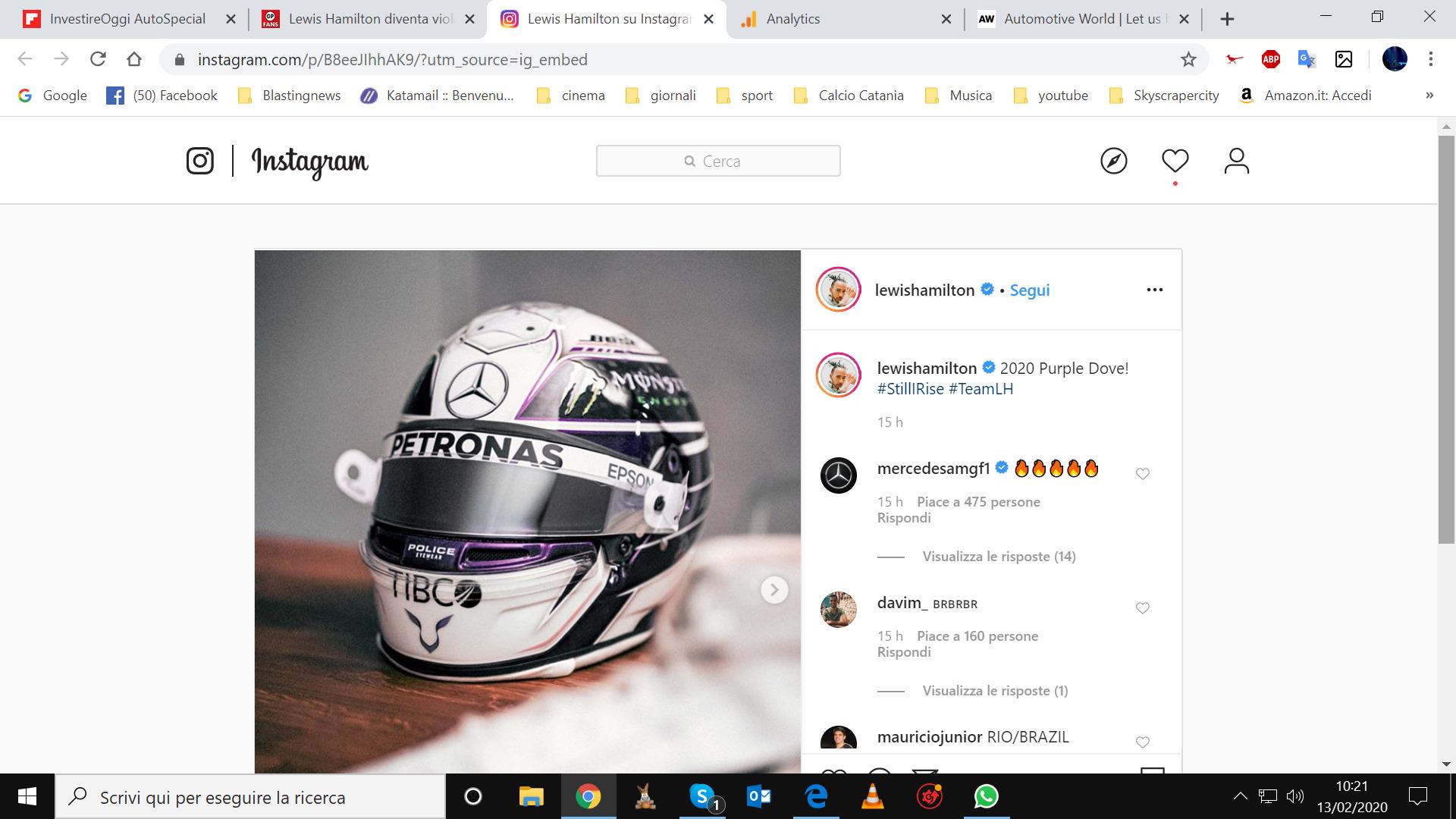 Lewis Hamilton casco 2020