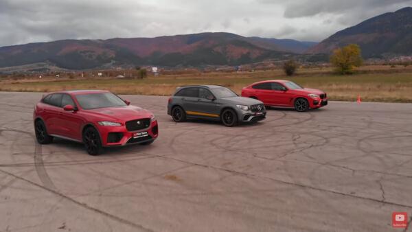 Mercede-AMG GLC 63 S vs BMW X4 M Competition vs Jaguar F-Pace SVR drag race
