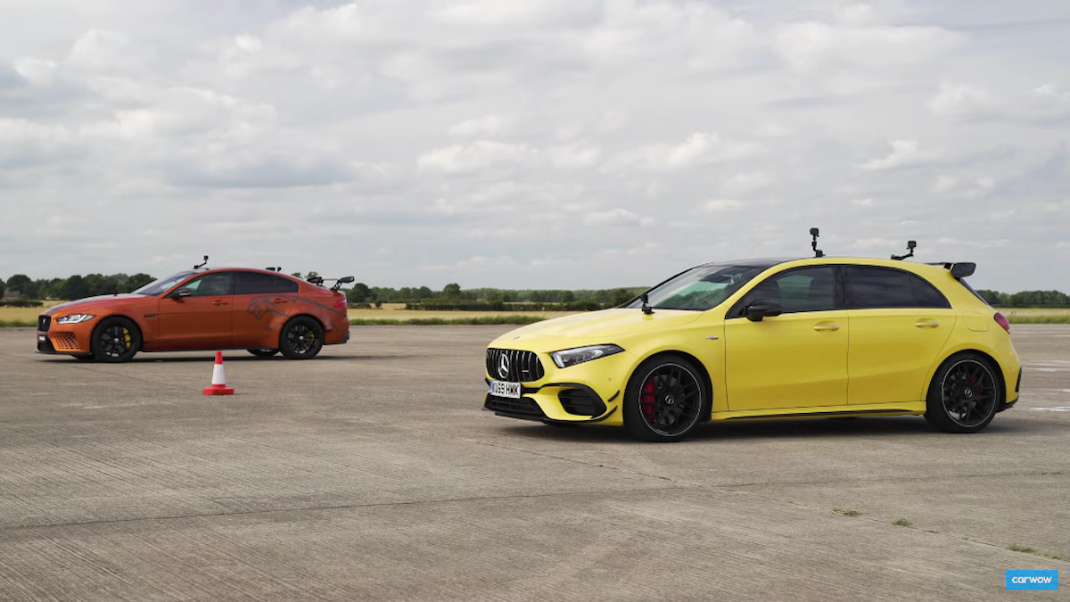 Mercedes-AMG A 45 S vs Jaguar Project 8 drag race