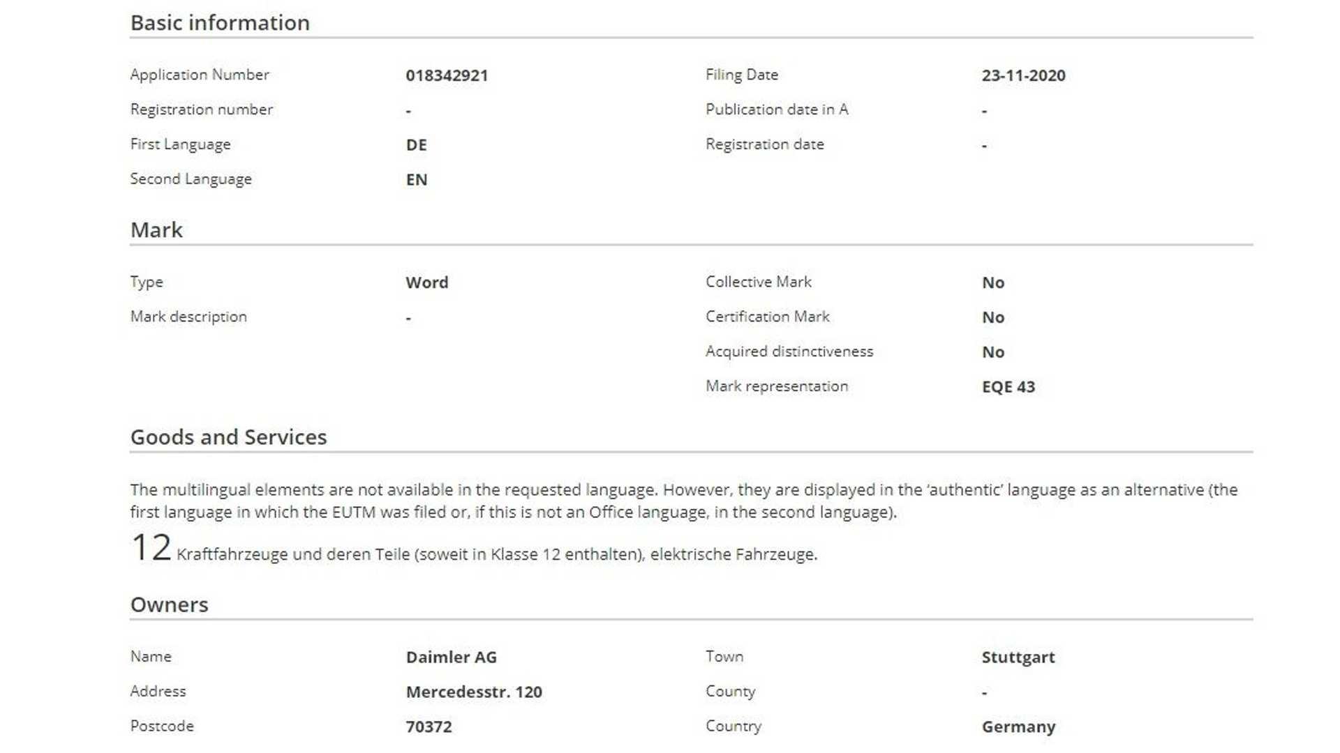 Mercedes-AMG EQE 43, EQE 53 ed EQE 63 trademark