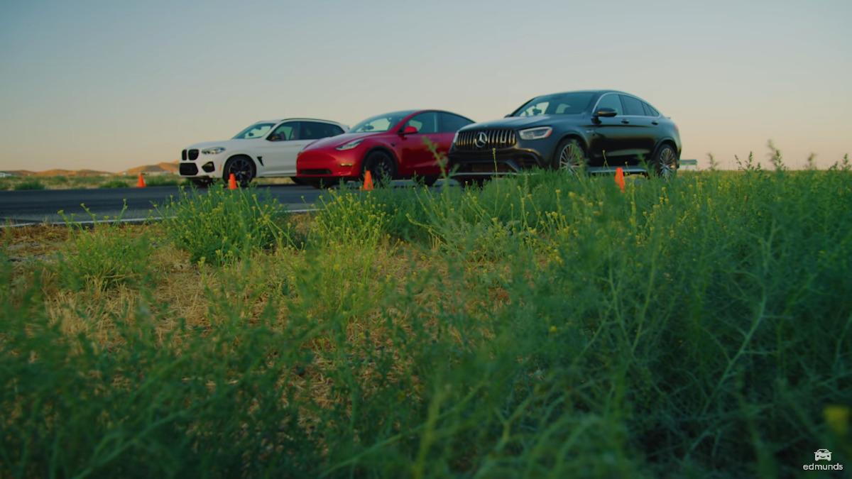 Mercedes-AMG GLC 63 S Coupé vs Tesla Model Y Performance vs BMW X3 M Competition drag race