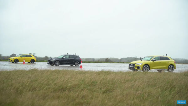 Mercedes-AMG A 35 vs Audi S3 Sportback vs BMW M135i xDrive drag race