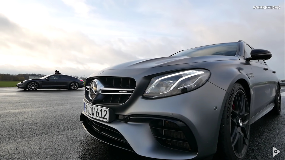 Mercedes-AMG E 63 S vs Porsche Taycan Turbo vs Tesla Model 3 drag race