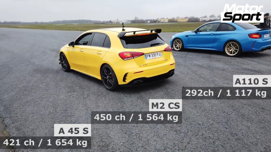 Mercedes-AMG A 45 S vs BMW M2 CS vs Alpine A110 S drag race
