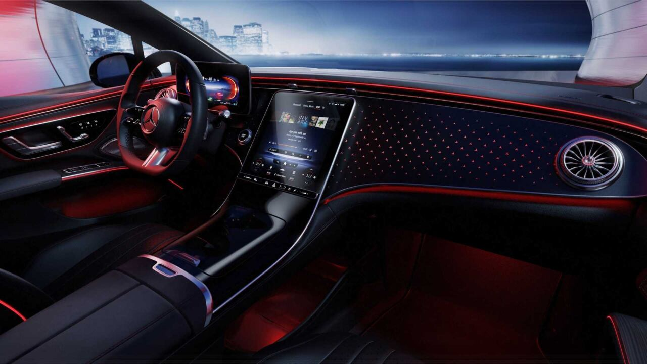 Nuova Mercedes EQS interni senza MBUX Hyperscreen