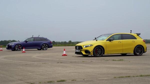 Mercedes-AMG A 45 S vs Audi RS6 Avant drag race