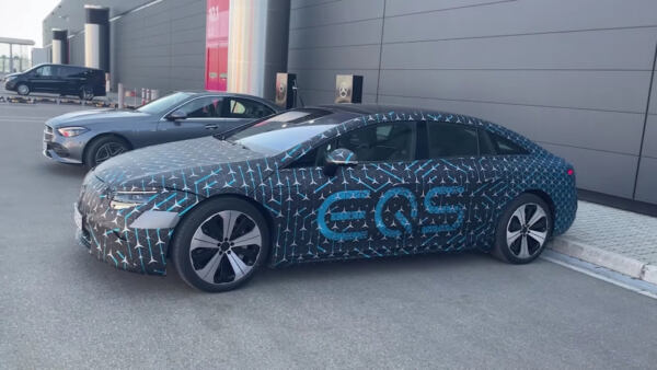 Mercedes EQS test strada