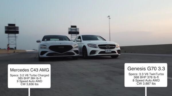 Mercedes-AMG C 43 vs Genesis G70 2022 drag race