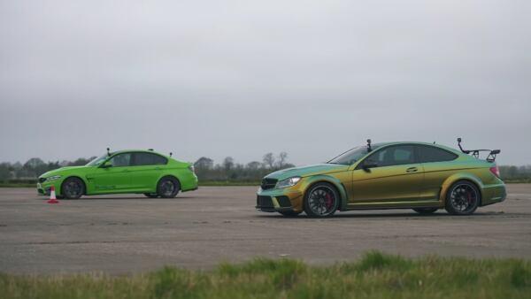 Mercedes-AMG C 63 Black Series vs BMW M3 drag race