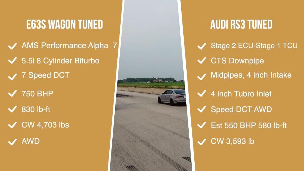 Mercedes-AMG E 63 S Wagon vs Audi RS3 drag race